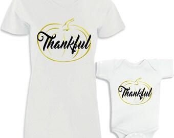 Thankful Gold Pumpkin Matching Shirt Set