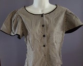 Darling Vintage 1950s Black White Gingham Blouse. Fitted. Small Medium