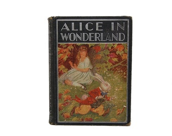 1933 Alice In Wonderland Through The Looking Glass Lewis Carroll Milo Winter White Rabbit Mad Hatter Chesire Cat Classic Childrens Story
