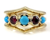 Modern Engagement Ring Set Turquoise and Garnet Engagment Ring with Stacking Side Bands - Ready to Ship 5.5-7.5