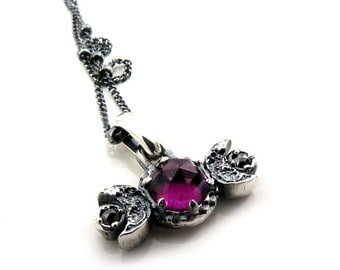 Rose Cut Rhodolite Garnet Moon Phase Pendant with Black Diamonds - Sterling Silver