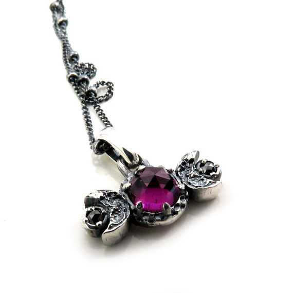 Ready to Ship - Rose Cut Rhodolite Garnet Moon Phase Pendant with Black Diamonds - Sterling Silver