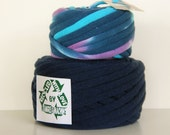 Navy Blue and Tie Die Set of 2 Skeins 48 Yards Recycled T-Shirt Yarn, T Shirt Yarn, Bulky