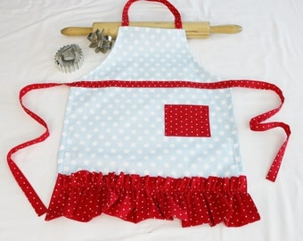 Ruffled Light Blue and Red Polka Dotted Child Apron - ready to ship