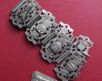On Sale Antique French Panel Bracelet Tour Paris Eiffel Tower Jewelry