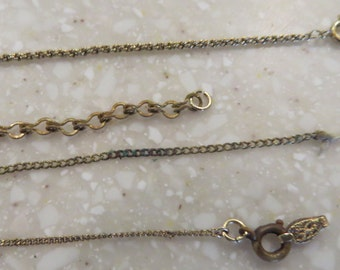 Four Antique Gold Plated Necklace Chains For Repair or Repurpose