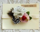 Flower Felt Girls Headband - Polka Dot Baby Headband