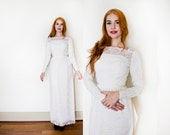 Vintage 1960s Wedding Dress - White Lace Long Sleeve Illusion Gown 60s - Small