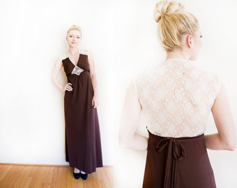 Vintage 1970s Dress - Sheer Illusion Lace Brown Full Length Maxi Dress 70s Roberta - Small