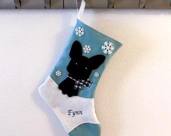 Black French Bulldog Dog Personalized Christmas Stocking by Allenbrite Studio