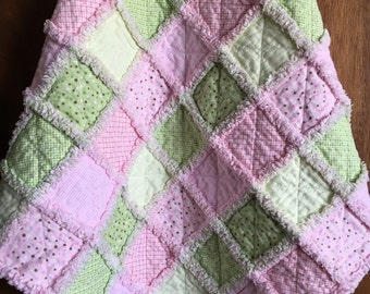 Baby Rag Quilt - Pastel Colors - Pink Baby Quilt