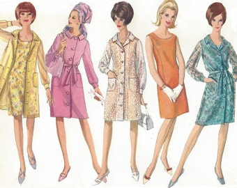 1960s Womens Shift Dress & Unlined Coat or Coat Dress Simplicity Sewing Pattern 6490 Size 18 Bust 38 UnCut Vintage Sewing Patterns