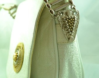 Vintage 90s Nina Arjani White Leatherock Purse Metallic Rocker Chick Embellishments Cross Body Bag Genuine Leather Birthday Gift for Her