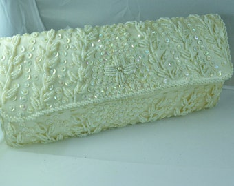 Vintage Ivory Beaded Clutch Made for Safco in Hong Kong Hand Beaded White Wedding Handbag Vintage Beaded Purses Birthday Gift for Her