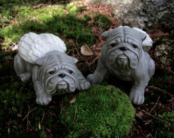 Bulldog Angel, Bulldog Statue, Memorial Statues, Pet Memorials, Bulldogs, Two Bulldog Angels, Bulldog Memorial, Bulldog Dog Statues,