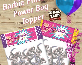 Barbie Princess Power bag toppers, Personalized bag toppers, Barbie Princess Power favors. Set of 20.