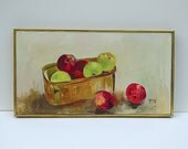 Mid Century Original 1960's Framed Still Life Oil Painting of Red and Green Apples signed by artist Gray