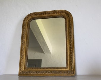 Decorative Antique French Mirror With Bronze Colored Paint Finish Louis XV
