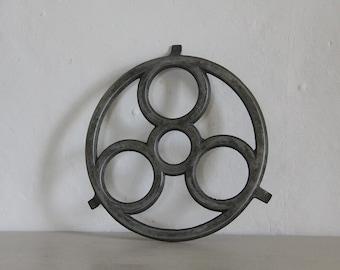 French Vintage Pot Stand Trivet in Aluminium Circle Design