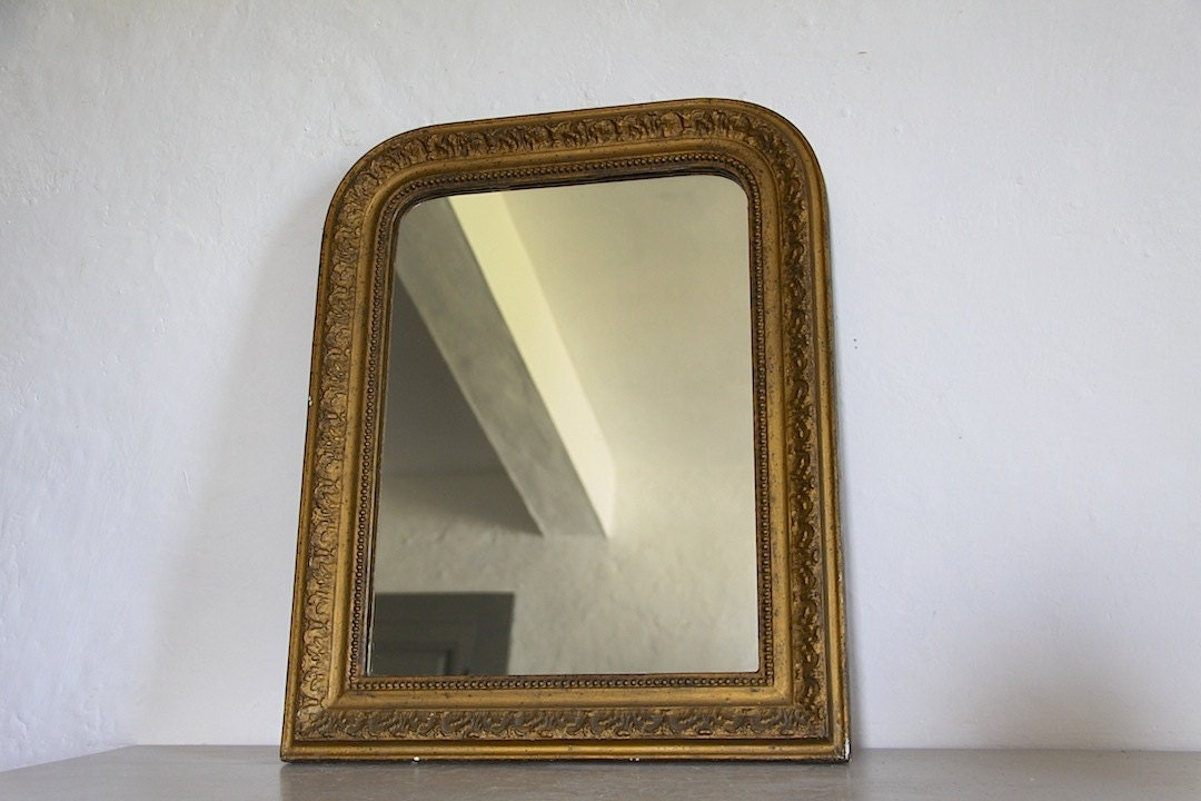 Decorative Antique French Mirror With Bronze Colored Paint