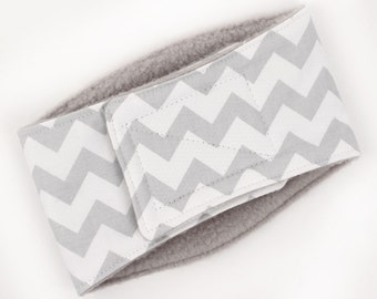 Leak Proof Belly Band for male Dogs Stop Marking Inside Grey Chevron Print