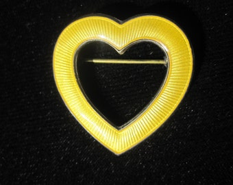 Aksel Holmsen Norway Sterling and Yellow Guilloché Enamel Heart Pin