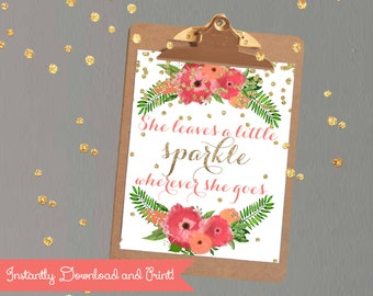"""Girls room Printable Decor Quote """"She Leaves a Little Sparkle""""  Blush Coral Glitter Nursery Decor"""