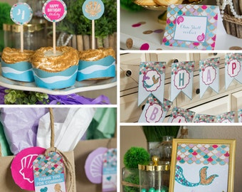 Get your matching party printables for your Purple and Blue / teal Mermaid / Under the sea party - Swim party - Instant Digital Download