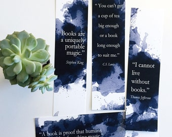 Bookmarks for book lovers - paper bookmarks - literature quotes - book lover quotes - bookmark set