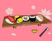 Sushi - Original 4x6 or 8x10 Digital Print by WiskyLittle