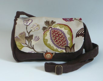 Shoulder Bag, Brown Heavy Canvas with Multi Color Floral Design