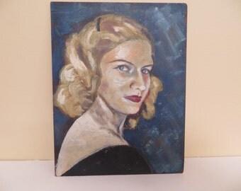 Vintage PORTRAIT Painting OIL / original Mid Century MODERN / woman / 8 X 11
