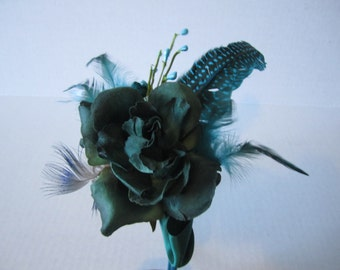 Forest Green Pheasant Fascinator, Green Rose, Sea Blue feather, Hairband mounted, Beautiful Fascinator, Elegant Hair piece, Formal Accessory