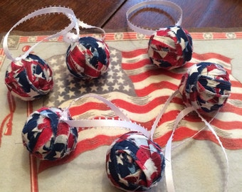 4th of July Rag Ball Ornaments Set of 6