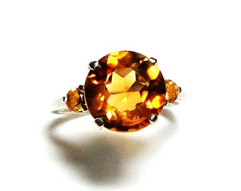 "AAA Citrine, citrine accent ring, citrine citrine ring, 3 stone ring, yellow orange, occasion ring, s 6 1/2  ""Orange Oasis"""