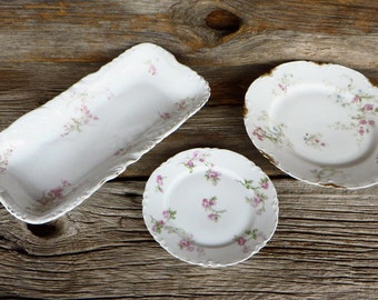 Haviland China Mismatched Dishes 3 Delicate Pink Floral Porcelain Dinnerware Pieces France and Austria Cottage Chic Transferware