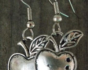 Surgical Stainless Steel Earrings, Silver Apple Charms with Hypoallergenic Steel Ear Wires