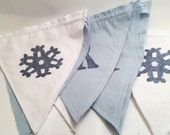"""Winter Snowflake Mr & Mrs Banner, Wedding Pennant, Holiday Bunting, Wedding Decoration, Holiday Fabric Pennant Banner 7.5"""" x 7.5"""""""