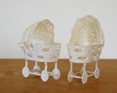Baby Shower Favors, Wilton Cake Toppers, White Plastic Bassinets, Vintage Baby Shower
