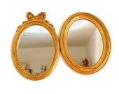 Wall Mirrors, Gold Oval Mirrors, Made in Italy, Hollywood Regency Decor