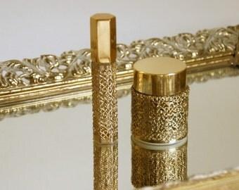 Vanity Accessories: Perfume Bottles, Ormolu Bottles, Vintage Revlon Intimate, Hollywood Glam Decor