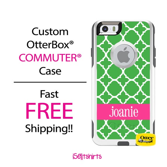 Custom OTTERBOX Commuter iPhone 6 Plus 5 5S 5C 4/4S Galaxy S3 S4 S5 Note 2 3 Case Green Lattice Hot Pink band Personalized Monogrammed A1