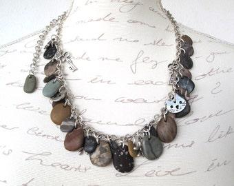 Beach Stone Necklace Mediterranean Pebble Jewelry Rock Necklace Natural Stone River Stone Jewelry Wrap Bracelet Silver CHARMED