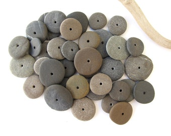Rock Donut Beads Drilled Stone Spacers Beach Stone Beads Mediterranean Natural Stone Beads Diy Jewelry Pairs SMALL GRAY WHEELS 14-16 mm