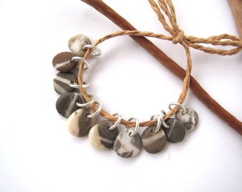 Natural Stone Beads Mediterranean Beach Stone Beads Rock Charms River Stone Beads Pebble Pairs Diy Jewelry Small STRIPED KHAKIS 11-12 mm