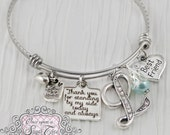 Bridesmaid Gift -Thank you for standing by my side- Best Friend, Maid of Honor-Initial Bridal Jewelry-Expandable Bangle-Charm Bracelet, Blue