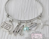 Mother of Groom Bracelet -Thank you for raising the man of my dreams-Starfish Wedding Jewelry-Initial Bridal Jewelry-Expandable Bangle, Blue