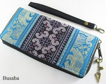 Personalized Monogramed Wallet, Elephant Embroidered Zippered Wallet, Colorful Hmong Tribal Long Wallet, Blue Wallet