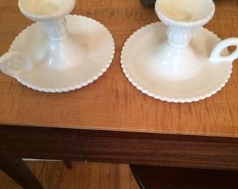 Antique milk glass candlestick holders