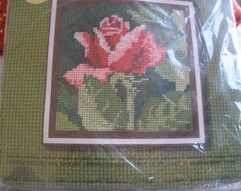Vintage NeedlePointers Kit Radiant Rose No. 5222 Sunset Designs Charlene Gerrish Needlepoint 1977 Picture wall hanging NIP